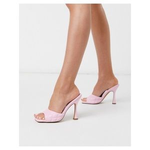ASOS Design Nancy Quilted Pink Mules
